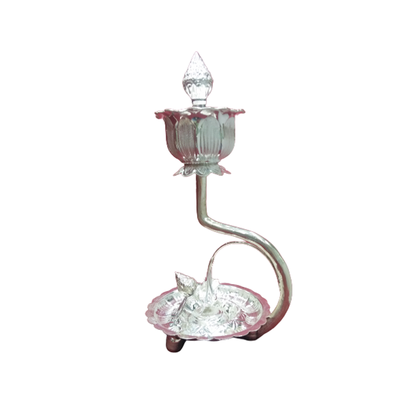 925 PURE SILVER HAND CRAFTED LAMP FOR POOJA