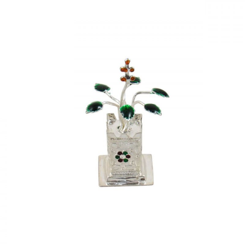 Pure Silver Tulsi Plant for Gift, Silver Tulsi Kyara for Pooja with Calcutta Meena Work