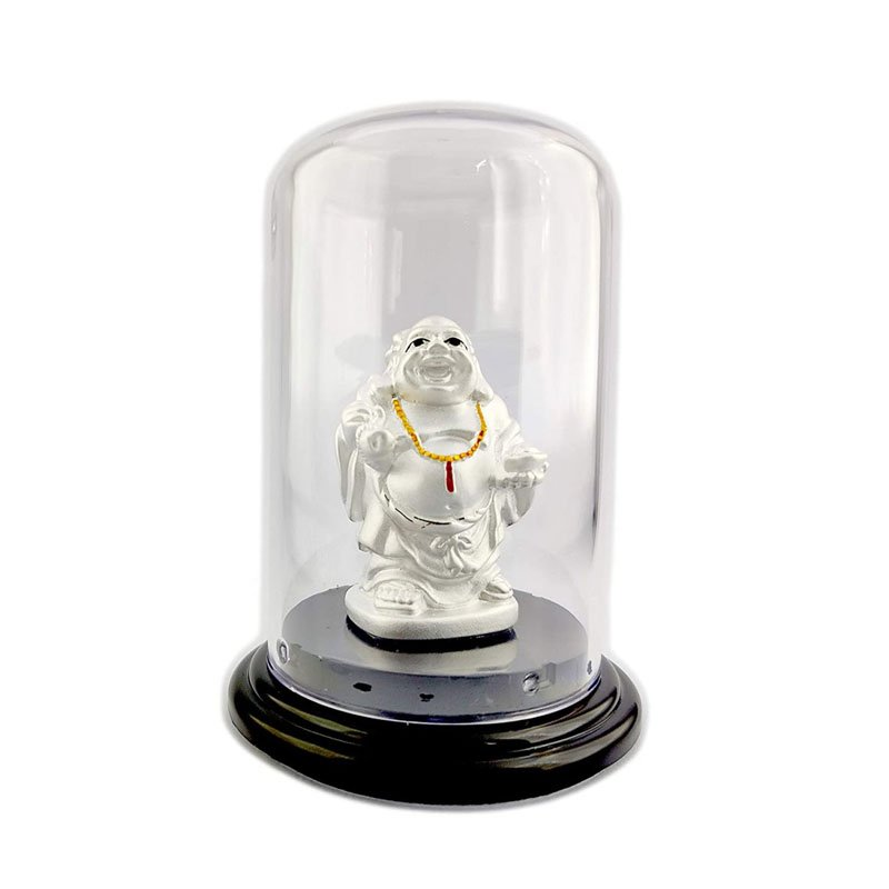 999 Pure Silver Laughing Buddha Beautiful Idol with Acrylic Base for Good wishes/Longevity/Gift Item for ospicious occassions/Car dashboard