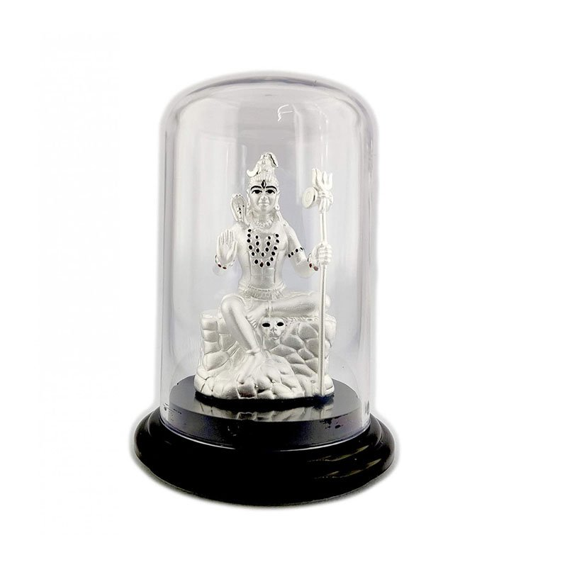 Pure Silver Lord Shiva/Mahadev/Shivji/Bholenath Beautiful Idol with Acrylic Base for Pooja/Gift Item for ospicious occassions/Car Dashboard
