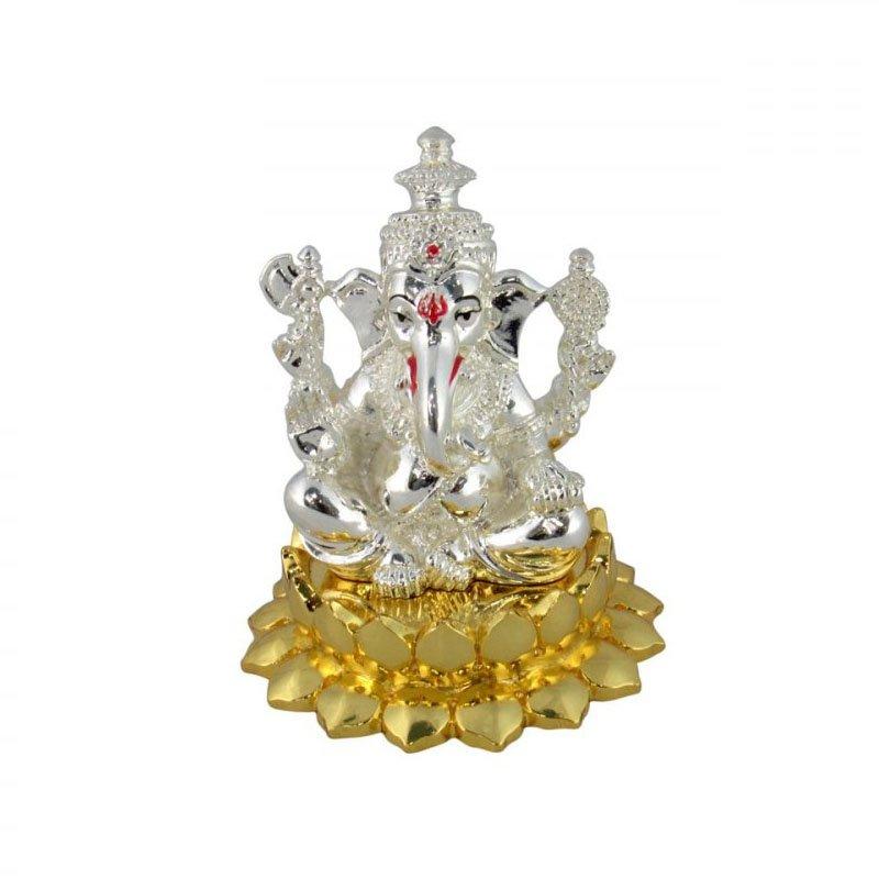 999 Silver Plated  Lotus Ganesha Idol for Gift
