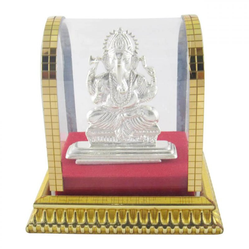Pure Silver Ganesha Idol with Cabinet for Home Decor, Silver Ganesh Murti for Gift