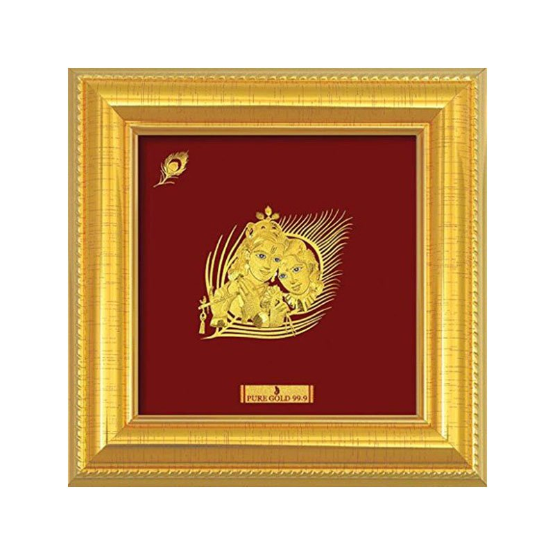 Pure Gold Radha Krishna Artwork Photo Frame