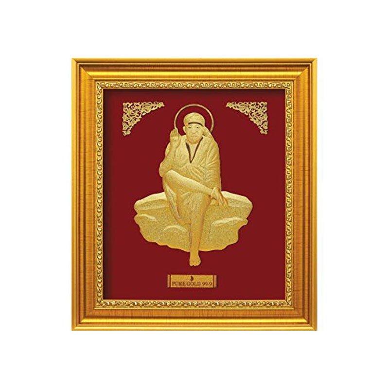 Laxmi Ganesha frame in Pure Gold