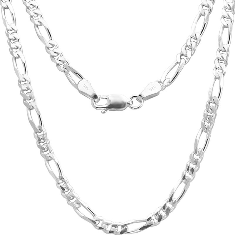 92.5 Sterling Pure Silver Figaro chain 20 24 28 Inches For Men & Boys