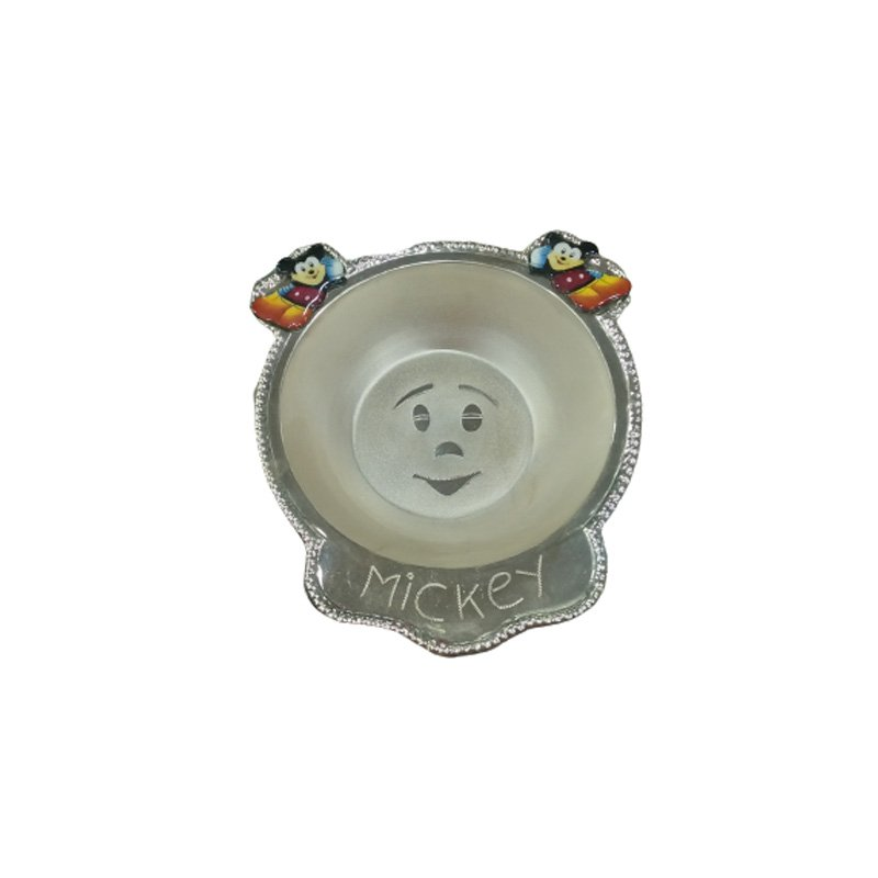 Puar Silver Baby Bowl - Mickey Mouse Design