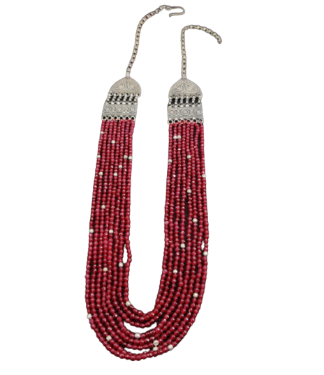 SILVER RED STONE PENDANT NECKLACE FOR GIRLS