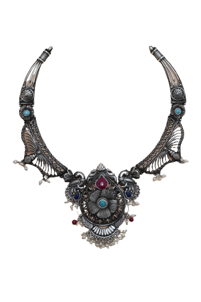 OXIDIZED SILVER BUTTERFLY DESIGN TRADITIONAL NECKLACE  FOR WOMEN
