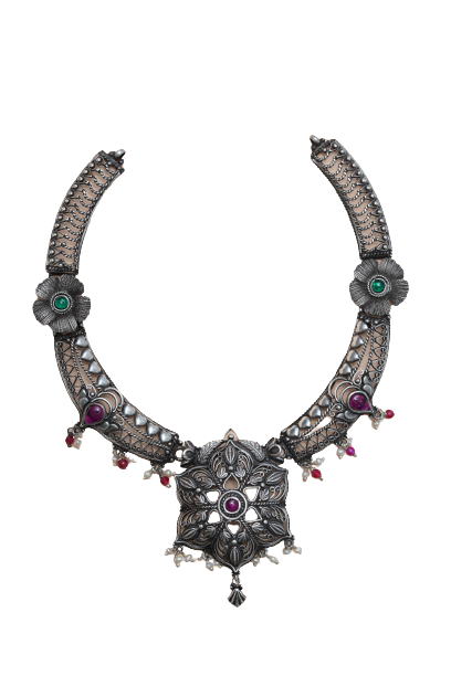 92.5 ANTIQUE SILVER TRADITIONAL NECKLACE  FOR  BRIDAL