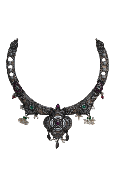 OXIDIZED SILVER TRADITIONAL NECKLACE  FOR HOUSE WIFE