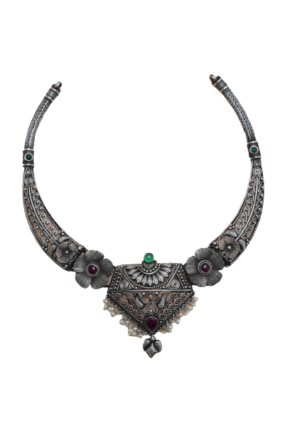 OXIDIZED SILVER  TRADITIONAL NECKLACE  FOR BRIDAL