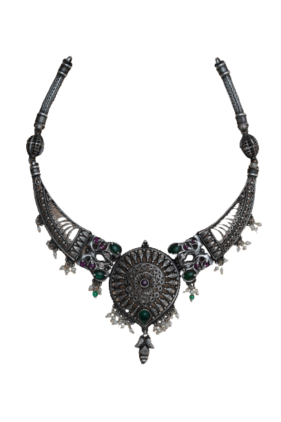 92.5 OXIDIZED SILVER  PARTY WEAR NECKLACE FOR LADIES