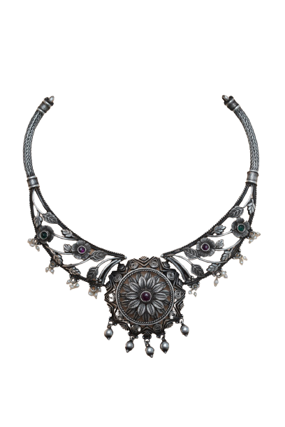 92.5 OXIDIZED SILVER  NECKLACE  FOR WOMEN