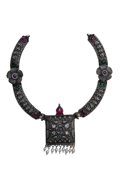 92.5 ANTIQUE TRADITIONAL FASHION NECKLACE  FOR BRIDAL