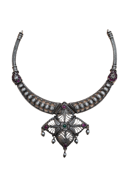 ANTIQUE SILVER FASHION NECKLACE  FOR HOUSE WIFE
