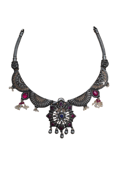 ANTIQUE SILVER TRADITIONAL NECKLACE  FOR WOMEN