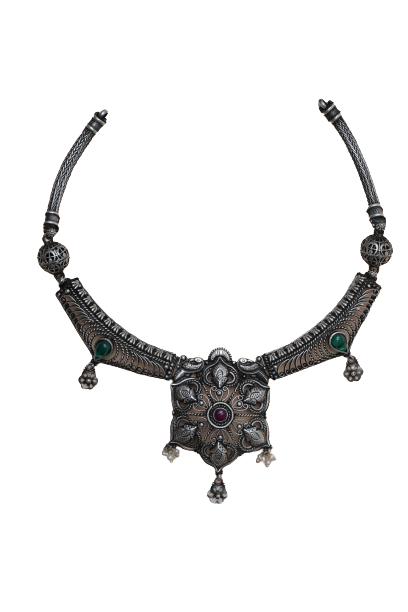 92.5  OXIDISED SILVER FANCY TRADITIONAL  NECKLACE FOR  BRIDAL