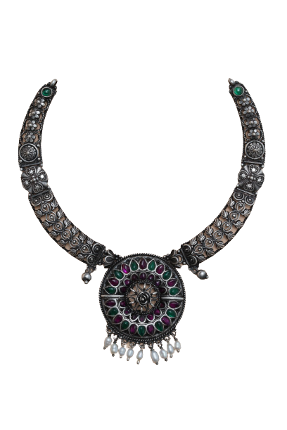 ANTIQUE SILVER  NECKLACE  TRADITIONAL FOR WOMEN