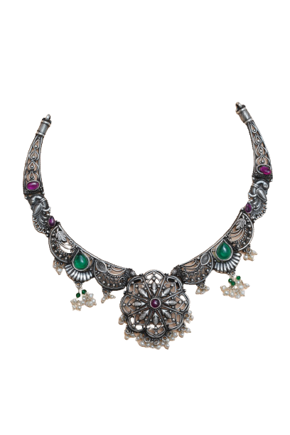 ANTIQUE SILVER PARTY WEAR NECKLACE  FOR LADIES