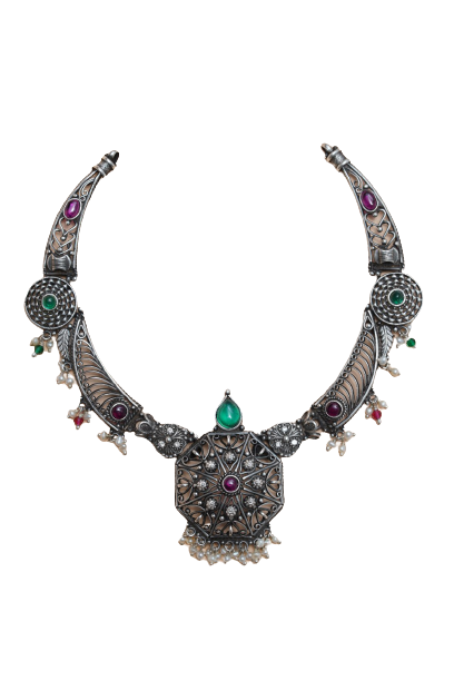 OXIDIZED SILVER  STYLLISH FANCY PARTY WEAR NECKLACE FOR HOUSE WIFE