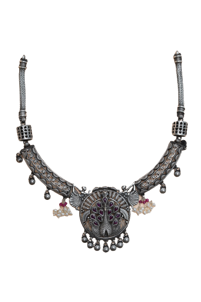 ANTIQUE SILVER  TRADITIONAL NECKLACE FOR LADIES