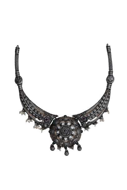 OXIDIZED SILVER  STYLLISH  TRADITIONAL NECKLACE FOR WOMEN