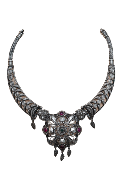 92.5  OXIDISED SILVER FANCY NECKLACE FOR BRIDAL