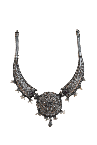ANTIQUE SILVER  PARTY WEAR NECKLACE FOR GIRLS