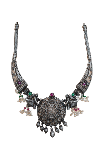 92.5 OXIDISED SILVER NECKLACE  FOR WOMEN