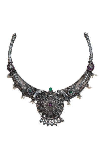 ANTIQUE SILVER TRADITIONAL NECKLACE FOR PRINCESS