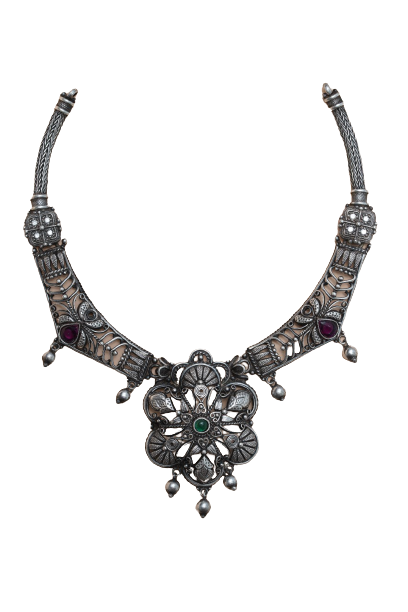 ANTICC SILVER FASHION TRADITIONAL NECKLACE FOR BRIDAL WEAR