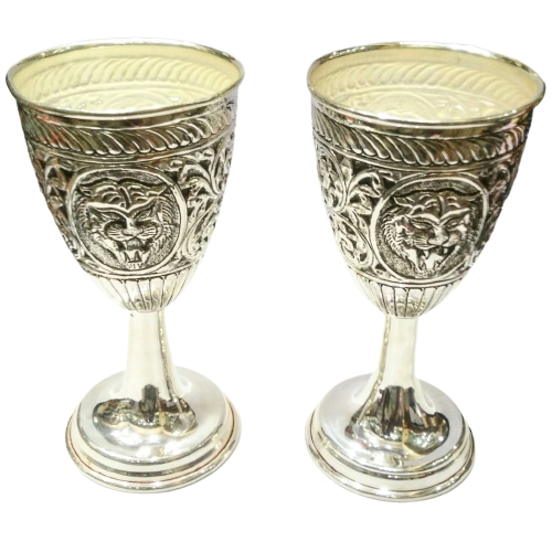 92.5 PURE SILVER WINE GLASSES WITH ANTIQUE FINISH PACK OF 2