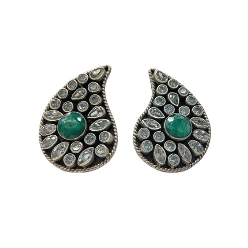 92.5 OXIDISED SILVER GREEN STONE TOE RING FOR GIRLS