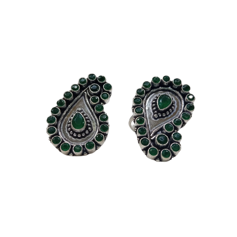 92.5 SILVER GREEN STONE TOE RINGS FOR GIRLS