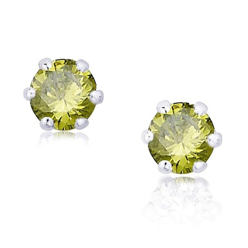 92.5 SILVER GREEN STONE EAR STUDS FOR WIFE