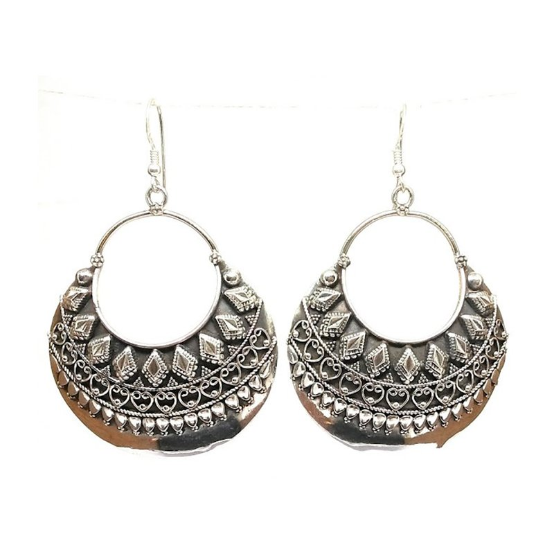 925 OXIDISED SILVER SLOID ROUND DROP EARRINGS FOR BRIDAL
