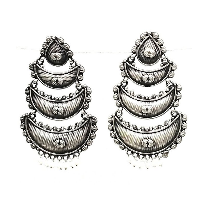 925 OXIDISED SILVER TRADITIONAL EARRINGS FOR GIRLS
