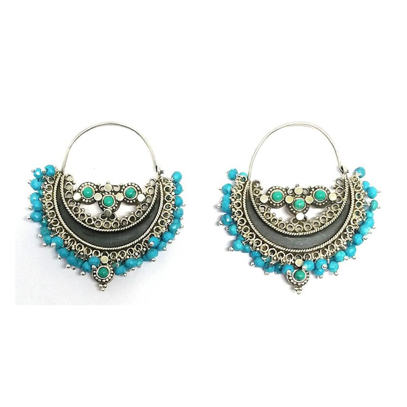 ANTIC FINISH TURQUOISE STONE STUDDED EARRINGS  FOR PRINCESS