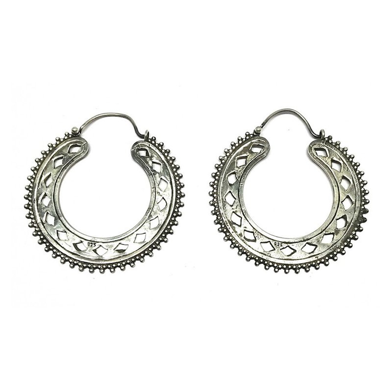 925 OXIDISED SILVER ROUND DROP EARRINGS FOR GIRLS