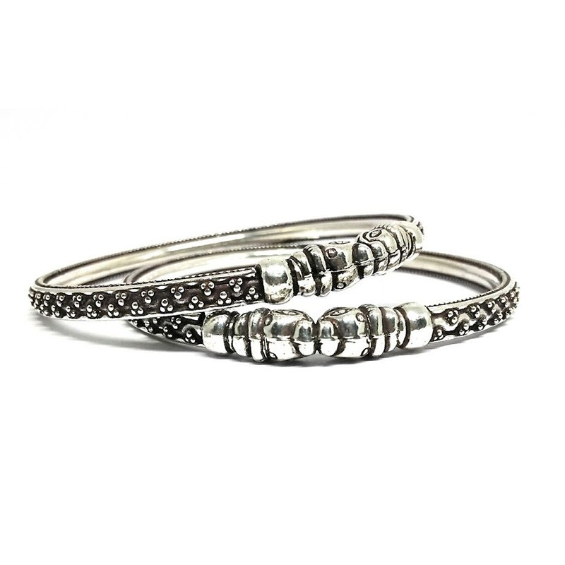 925 OXIDISED SILVER TRADITIONAL BANGLE  FOR GIRLS
