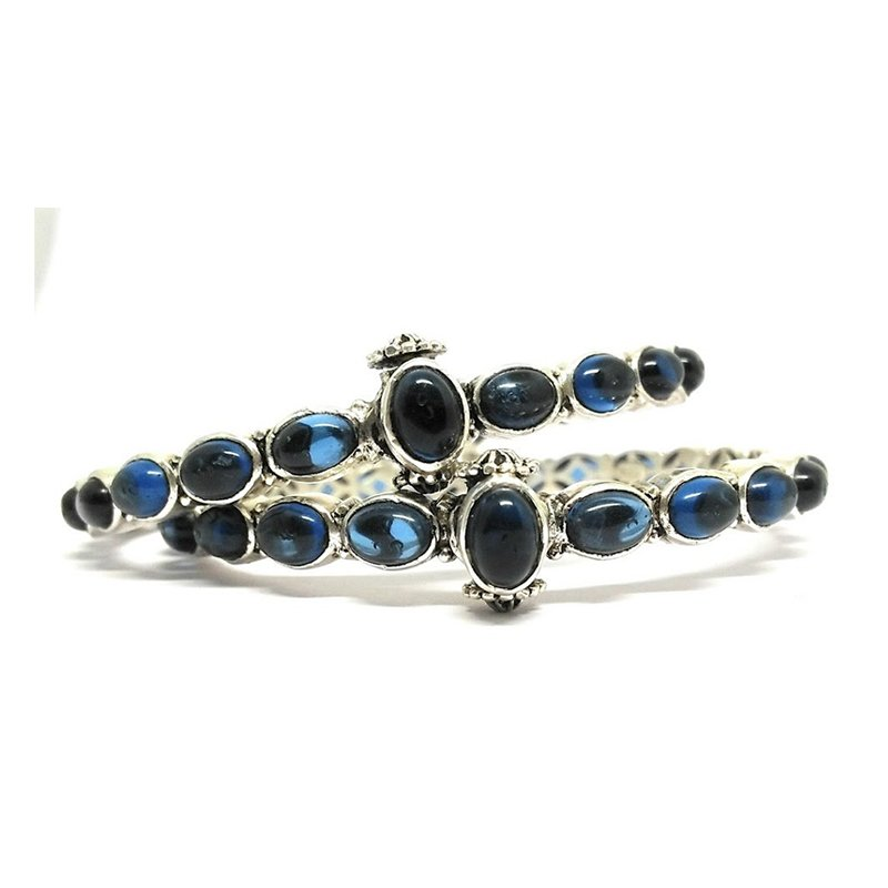 925 OXIDISED SILVER BLUE SAPPHIRE COLOR FOR GIRLS