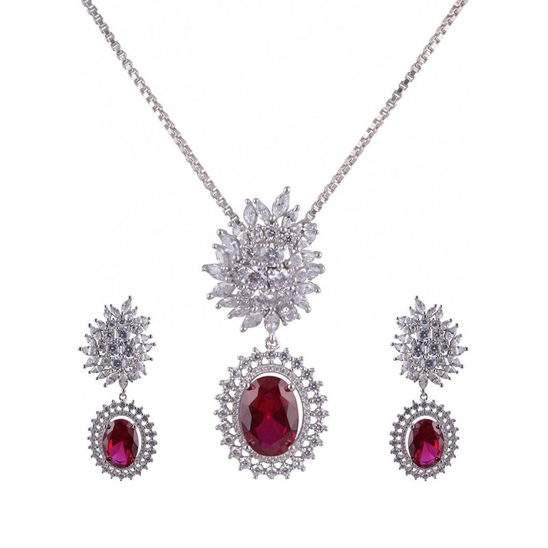 925 SILVER PENDANT SET WITH RUBY STONE  FOR GIRLS & WOMEN