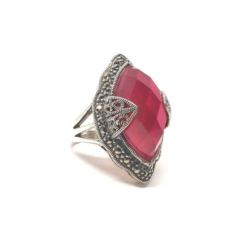 OXIDIZED SILVER RUBY RING FOR BRIDAL