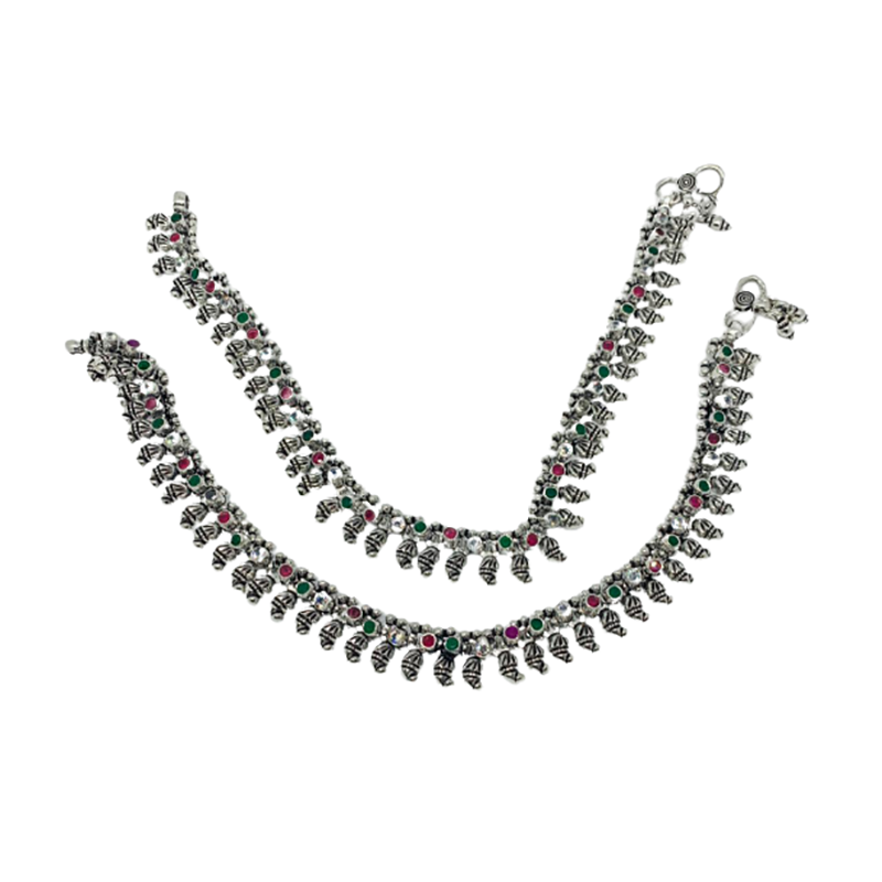 92.5 ANTIQUE OXIDISED SILVER ANKLETS FOR WOMEN