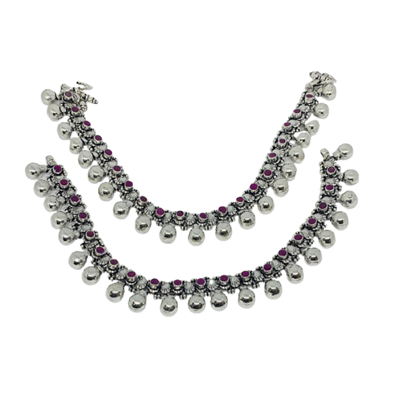 92.5 ANTIQUE OXIDISED SILVER ANKLETS FOR GIRLS