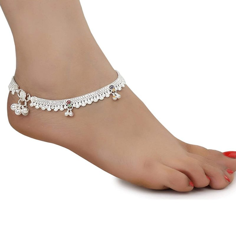 92.5 PURE SILVER TRADITIONAL ANKLET FOR WOMEN & GIRLS