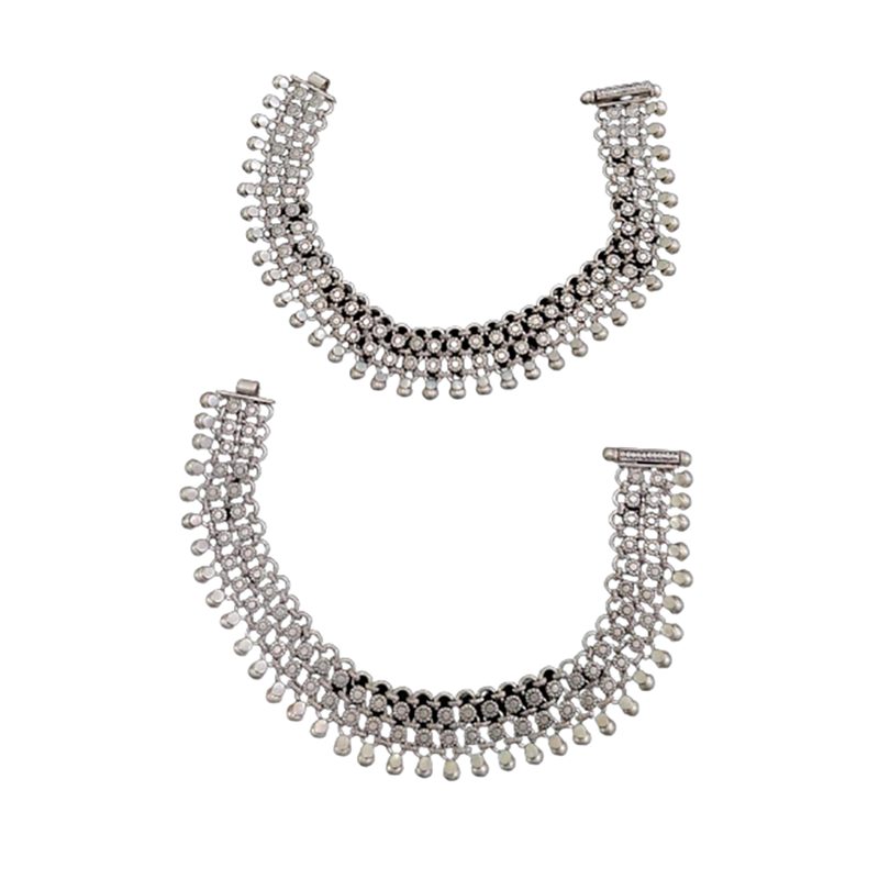 SILVER ANTIQUE ANKLETS FOR LADIES