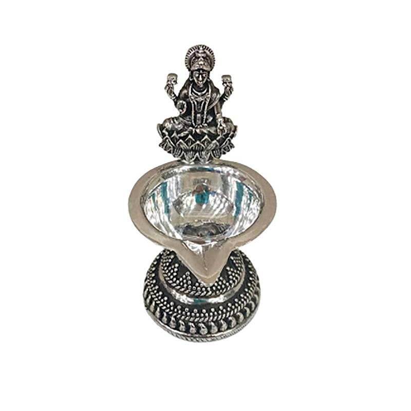 92.5 OXIDISED SILVER LAKSHMI DEEPAM LAMP FOR HOUSEWARMING GIFT