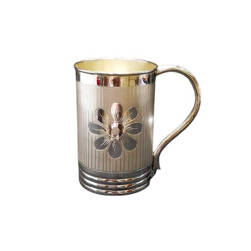 925 PURE SILVER COFFEE MUG FLOWER DESIGN