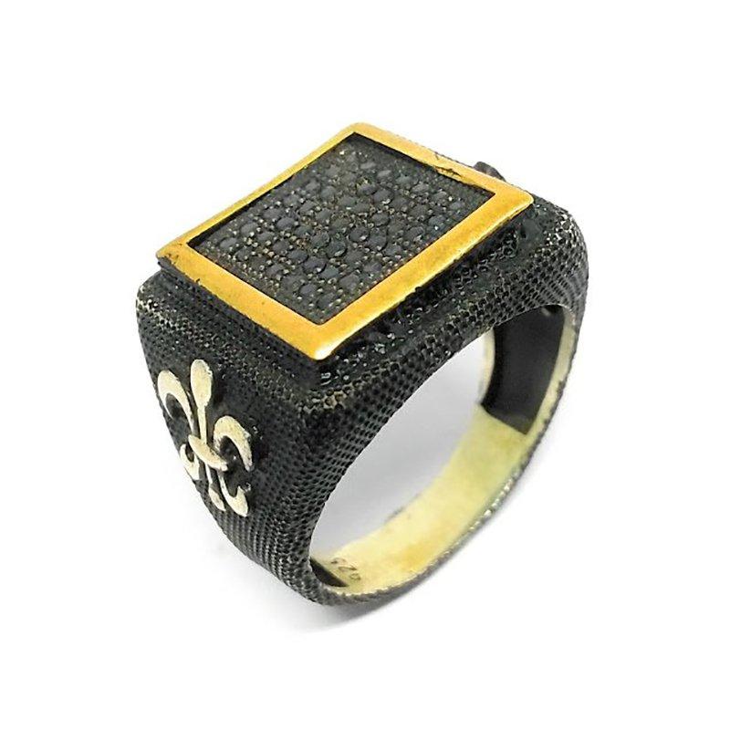 925 OXIDIZED SILVER BLACK ENAMEL RING FOR MEN